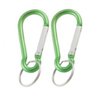 Spring Loaded Gate Green Carabiner Hook Metal Ring Keychain 2 Pcs Clothing