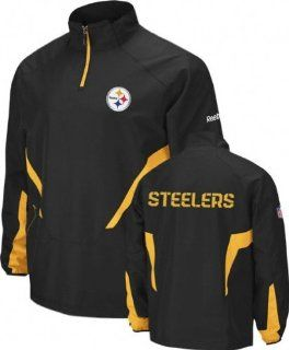 Reebok Pittsburgh Steelers Black Hot Sideline 1/4 Zip Pullover Wind Jacket (XX Large)  Sports Related Merchandise  Sports & Outdoors