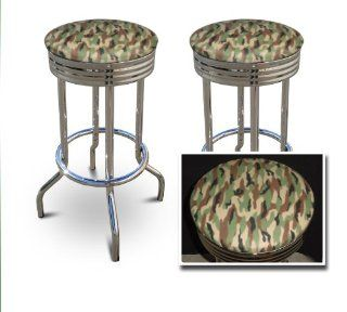 2 MAN CAVE Hunting Army Camouflage 29'' Specialty Chrome Barstools Bar Stools   Home Bars