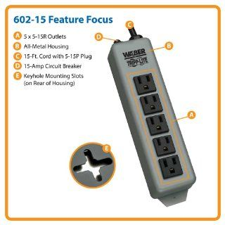 TRIPP LITE 602 15 5 15R 5 Outlet Waber Power Strip with 5 15P 15 Feet Cord: Electronics