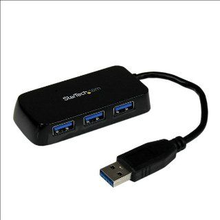 StarTech Portable 4 Port SuperSpeed Mini USB 3.0 Hub with Built In Cable ST4300MINU3B   Black: Computers & Accessories