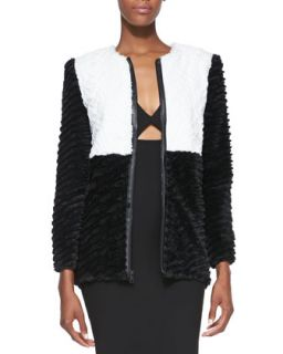 Womens Pali Two Tone Faux Fur Jacket   Alice + Olivia   Black/White (X SMALL)