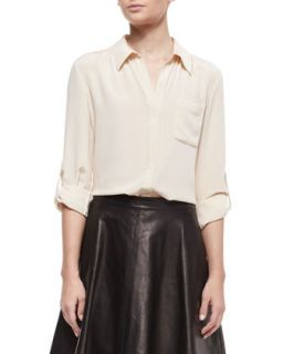 Womens Lorelei Long Sleeve Silk Blouse   Diane von Furstenberg   Desert sand