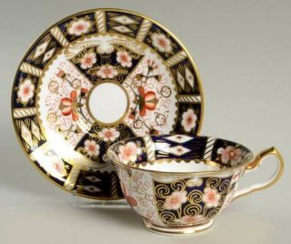 Royal Crown Derby Traditional Imari Footed Cup & Saucer Set, Fine China Dinnerwa