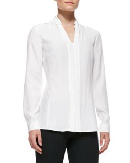 Womens Silk Placket Blouse With Bar Tacking, Cloud   Lafayette 148 New York