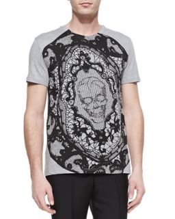 Mens Skull Printed Short Sleeve Tee   Alexander McQueen   Grey/Black (L/52)