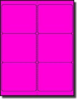 "600 Label Outfitters® 4"" x 3 1/3"" Fluorescent Neon Pink or Magenta Labels, 100 Sheets (Same size as Avery 5164)  Printer Labels"