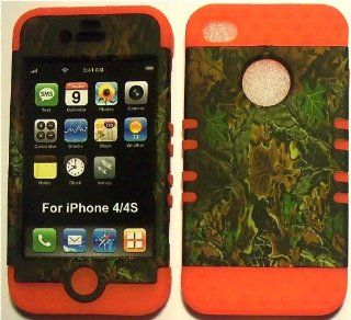 Camo Green on Orange Silicone Skin for Apple iPhone 4 4S Hybrid 2 in 1 Rubber Cover Hard Case fits Sprint, Verizon, AT&T Wireless: Cell Phones & Accessories