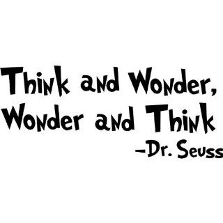 "Dr seuss Wall Decal Quotes Art Sticker ""Think and Wonder, Wonder and Think"" Nursery Wall Saying Sticker Mural Baby Kids room Wallpaper Decoration : Baby"
