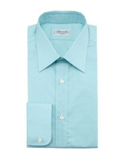 Mens Check Dress Shirt, Light Green   Charvet   Light green (44.5/17.5L)