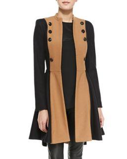 Womens Cohen Two Tone Military Coat   Alice + Olivia   Caramel/Black (X SMALL)
