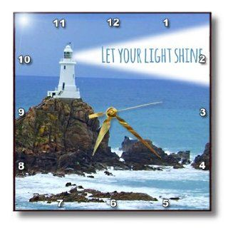 3dRose dpp_155657_2 Let Your Light Shine Lighthouse Shining Bright Light House At Sea Ocean Inspiring Words Saying Wall Clock, 13 by 13 Inch