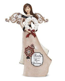 Modeles by Pavilion Gift Angel Holding Wreath Figurine, Saying Family Warms your Heart at Christmas, 12 Inch   Collectible Figurines