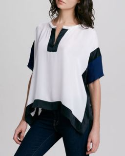Womens Boxy Half Sleeve Colorblock Top   Rebecca Taylor   Navy combo (2)
