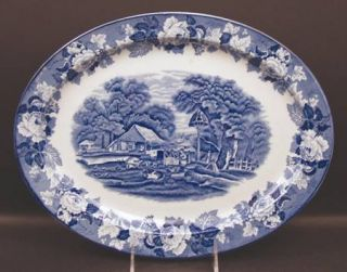 Enoch Wood & Sons English Scenery Blue (Blue Backs,Smooth) 14 Oval Serving Plat
