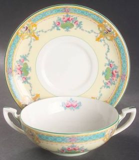 Royal Worcester Melba (Cream Background) Flat Cream Soup Bowl & Saucer Set, Fine