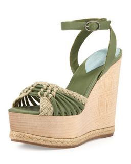 Tiberias Wooden Wedge Ankle Wrap Sandal   Donna Karan   Aquamint (40.5B/10.5B)