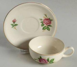 Paden City Red Rose Flat Cup & Saucer Set, Fine China Dinnerware   Red Rose & Bu
