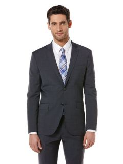Perry Ellis Mens Blue Small Check Suit Jacket
