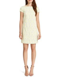 Womens Meena Cap Sleeve Printed Shift Dress, Cream/Multicolor   Cynthia Steffe