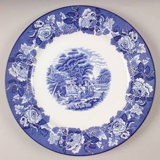 Enoch Wood & Sons English Scenery Blue (Blue Backs,Smooth) 12 Chop Plate/Round