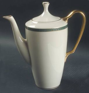 Lenox China Patriot (Gold Verge) Coffee Pot & Lid, Fine China Dinnerware   Green