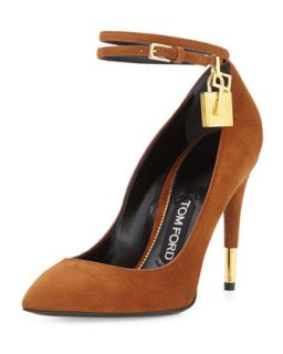 Suede Ankle Lock Pump, Caramel   Tom Ford   Caramel (39.0B/9.0B)