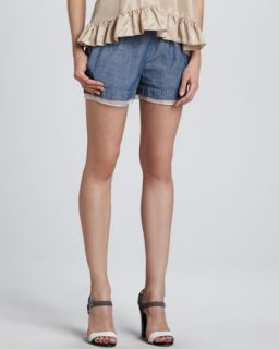 Womens Jack Sheer Hem Chambray Shorts   Elizabeth and James   Fade (SMALL)