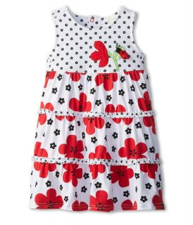le top Love Bug Big Flower Tiered Dress   Flower Love Bug Girls Dress (Red)