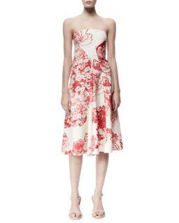 Womens Fiona Panama Flower Print Strapless Dress, Cream/Chili   Stella