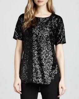 Womens Cecile Raglan Sleeve Sequin Blouse, Black   Rachel Zoe   Black (4)