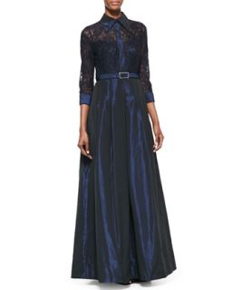 Womens Lace Sleeve Belted Gown   Rickie Freeman for Teri Jon   Navy (14)