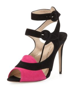 Sentinel Bicolor Double Buckle Sandal   Paul Andrew   Fuschia/Black (37.5B/7.5B)