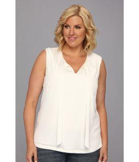Pendleton Plus Size Sleeveless Tie Blouse Womens Sleeveless (White)