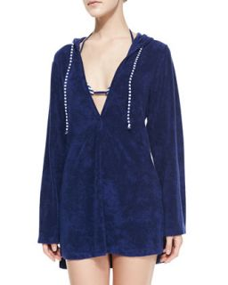 Womens Terry Hooded Tunic Coverup   Splendid   Navy (SMALL/4 6)