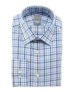 Mens Box Check Dress Shirt, Blue/White   Ike Behar   Navy (16R)