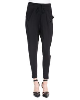 Womens Draped Jersey Tie Waist Pants   Helmut Lang   Black (LARGE)