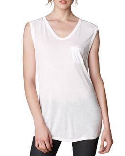 Womens V Neck Pocket Tee, White   T by Alexander Wang   White (L/12 14)