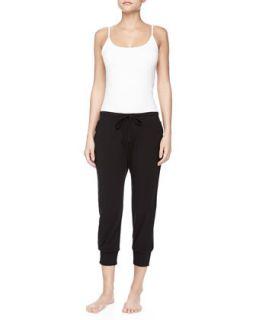 Womens Pima Cotton Drawstring Capri Pants, Black   Donna Karan   Black (SMALL)