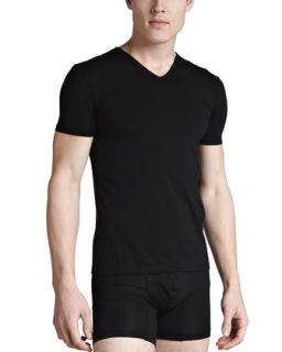 Mens V Neck Stretch Cotton Tee, Black   Ermenegildo Zegna   Black (MEDIUM)