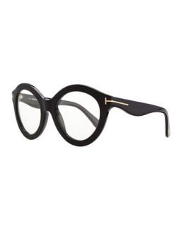 Plastic Round Fashion Glasses, Black   Tom Ford   Black