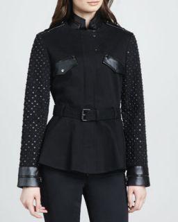 Womens Stud Sleeve Military Jacket   Robert Rodriguez   Black (2)