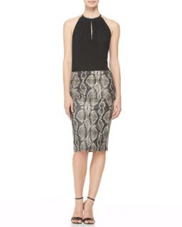 Womens Snake Print Fold Over Skirt   Donna Karan   Black/Ivory (10)