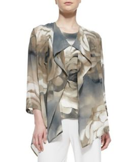 Draped Watercolor Rose Print Jacket, Womens   Caroline Rose   Beige/Black