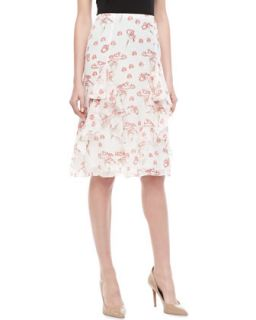 Womens Mushroom Print Chiffon Skirt   Carolina Herrera   Red/Ivory/Nude (4)