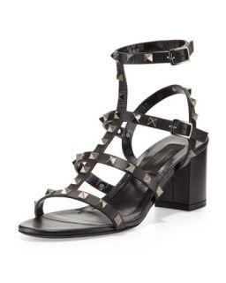 Rockstud Low Heel Cage Sandal, Black   Valentino   Black (38.0B/8.0B)