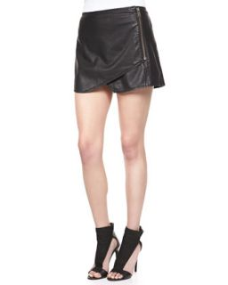 Womens Faux Leather Zip Mini Skort   Free People   Black (12)