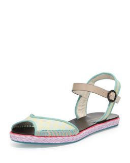 Marcela Flat Espadrille Sandal, Putty   Sophia Webster   Putty (39.5B/9.5B)