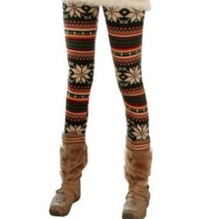 Maybe Women's Snowflake Thick Fleece Footless Pantyhose Legging at  Women�s Clothing store: Leggings Pants