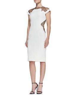 Womens Lace Inset Sheath Dress, Ivory   Lela Rose   Ivory (12)
